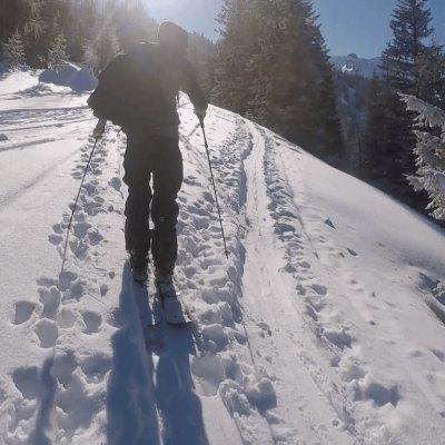 aan het skien in de zon